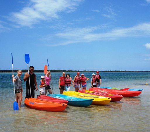 Golden Beach Hire: A happy group of kayakers ready to venture out to Bribie Island for an explore