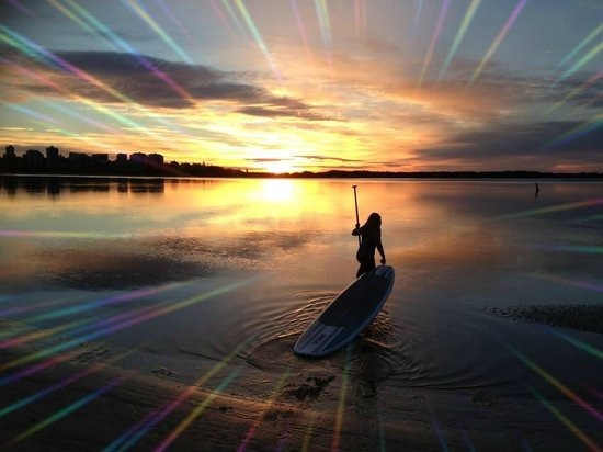 Golden Beach Hire: Magic morning heading out for a paddleboard session