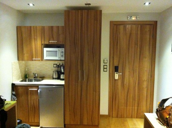 Elements Hotel Apartments: Kitchen and door to the room.