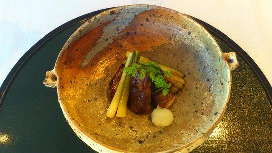 Nadaman Yokohama: 6.合肴~エンリギを牛肉でまく 絶品!