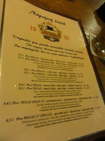 Pegas: Beer menu