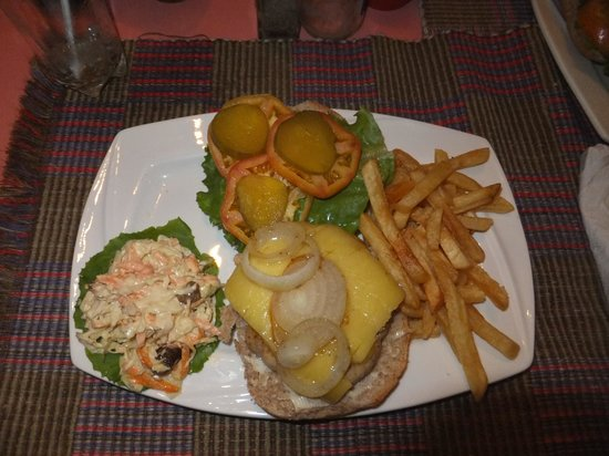 Kayak Kafe & Juice Bar: Chicken burger with extra cheese and french fries