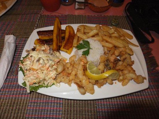 Kayak Kafe & Juice Bar: Conch Lambi with french fries & rice