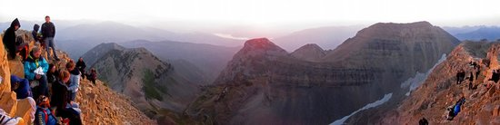 Mount Timpanogos Trails: Watching the sunrise at the peak of Mt. Timp.