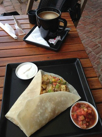 Common Grounds Cafe and Bakery : Breakfast burrito and coffee.