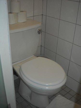 Howard Winchester Hotel: Banheiro pequeno com porta de vidro jateado e pia externa
