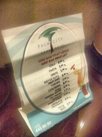 Palm City Hotel: this is how the mini-bar menu looks