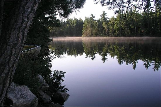Piragis Northwoods Company Outfitters: Misty morning and our Piragis boat