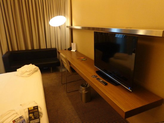 B-Hotel : huge TV with limited Eng language channels