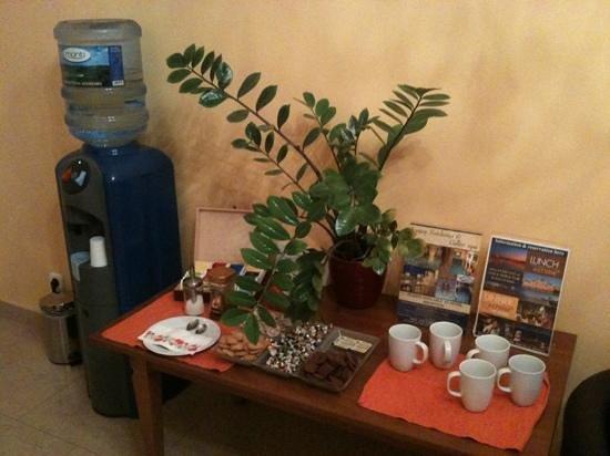 Budapest Panorama Central: Un accueil sympathique avec thé, café et biscuits dans le hall d'entrée
