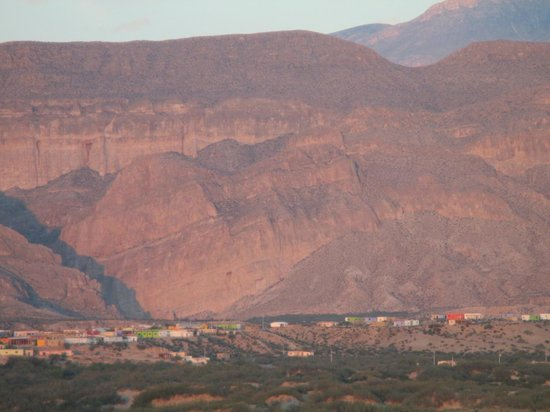 Rio Grande Village Nature Trail: Boquillas Canyon and Boquillas Mexico at sunset