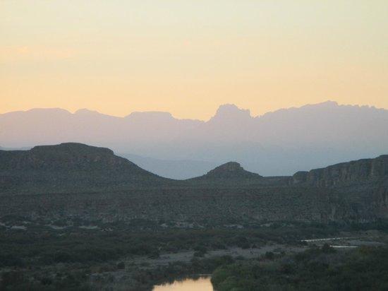 Rio Grande Village Nature Trail: Sundown at Rio Grande Village looking toward Chisos