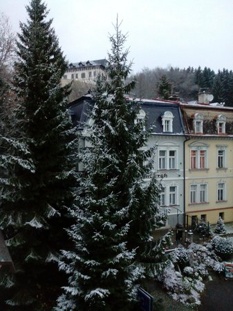 Hotel Continental: first snow fall for the season,view from my room