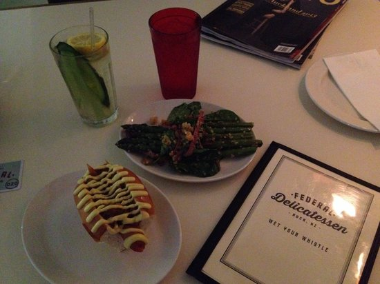 Federal Delicatessen: Green Grocer cocktail, (red glass is just water) Hot Dog, Asparagus Salad