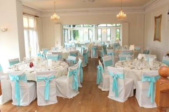 west tower country house hotel beautiful ball room set up for wedding breakfast