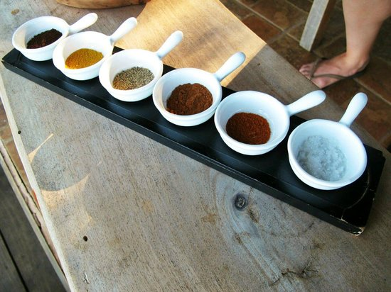 Caribeans Coffee & Chocolate: ground coffee, curry, black pepper, cayenne pepper, cinnamon, and sea salt