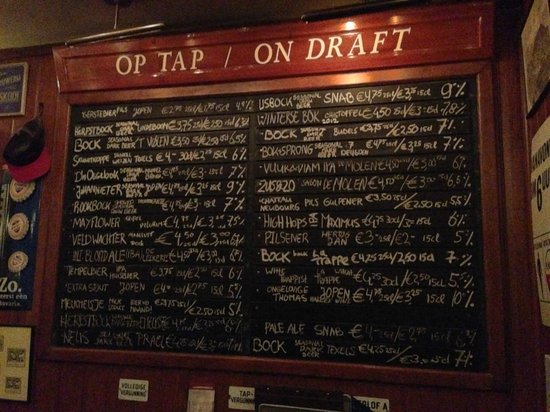 Beer Tasting Room Arendsnest : Menu das cervejas disponíveis
