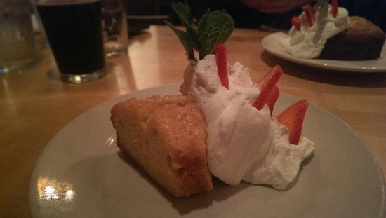 Sheehan's Irish Pub : Jameson whiskey yellow cake with whip cream, strawberries, and fresh sprout of mint