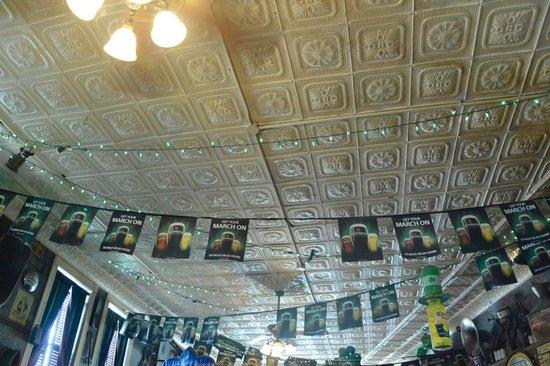 Duffy's Tavern: pressed tin ceiling