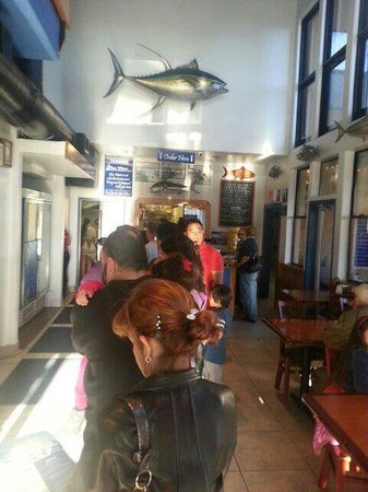 Blue Water: The line inside the door went pretty quicly & the staff was very nice.