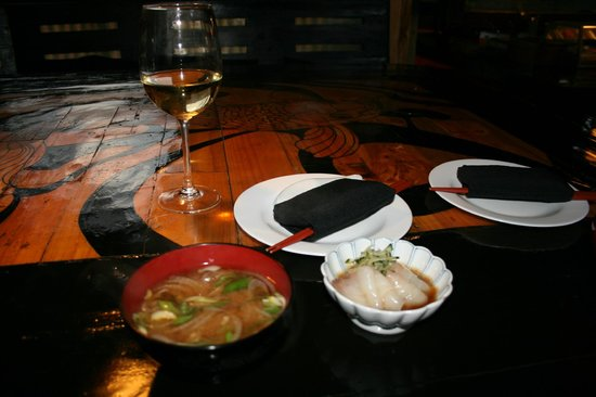 Kotaro: The Beginning, Soup & Sashimi on Lacquered Table
