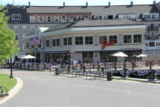 View of restaurant from Boston Wharf, Joe's American Bar & Grill  |  100 Atlantic Ave, Boston, M