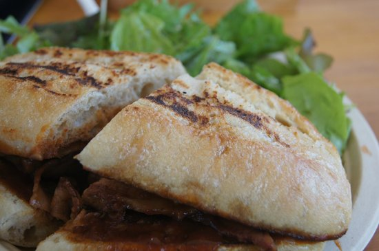 Sweet Home Waimanalo: Beef brisket sandwich with greens.