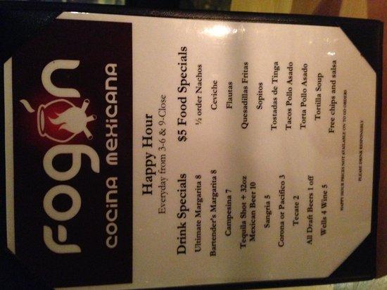 Fogon Cocina Mexicana: Happy Hr menu