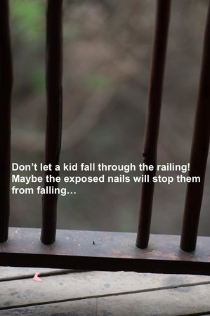 Shishangeni Private Lodge: Don't let a kid fall through the railing - many missing rails! But perhaps the exposed nails wil