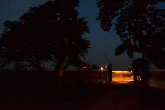 Serene Park: View of hotel gate with safari jeep