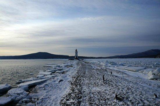 Lighthouse Egersheld : Коса во время отлива и сам маяк