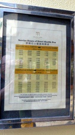 Grand Lapa Macau : Grand Lapa shuttle bus service to ferry terminal