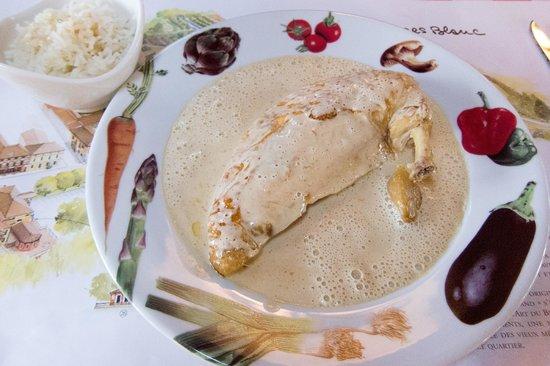 Bistrot L Ancienne Auberge 1900 : Poulet de Bresse à la crème « Mère Blanc », riz Basmati (white meat)