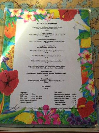 Island Cafe : Carte petit dejeuner