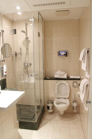 Leonardo Hotel Munchen City Center : Banheiro bom, porém com vazamentos pela vedação do box