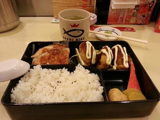 Sushi King Restaurant fried chicken, fried salmon lunch set