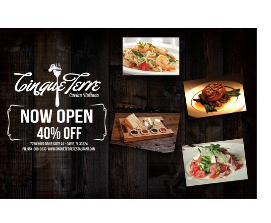 Cinque Terre Italian Restaurant: 40% Off until the end of the year *First time only