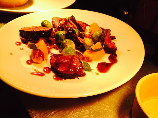 The Brewery Tap: Venison loin, butternut squash purée and Brussels sprouts