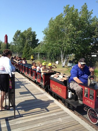 "North Bay Heritage Train and Carousel: The train is ready to depart...""all aboard!!!!""."