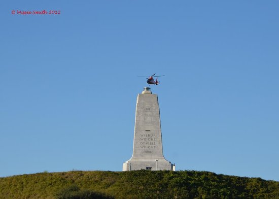 Wright Brothers National Memorial: Coast Guard Chopper at Memorial