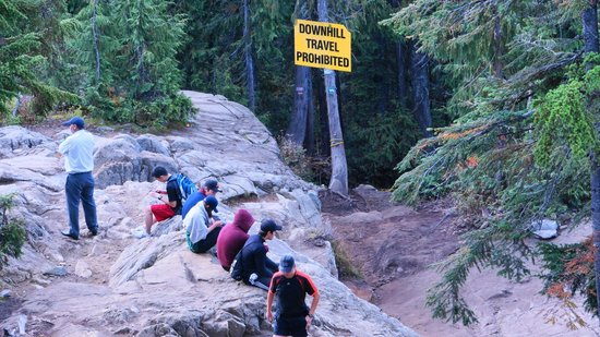 Hikers Resting at the Finish of the Grouse Grind