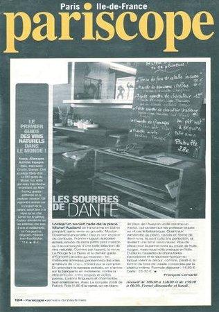 Les Sourires de Dante: Article pariscope