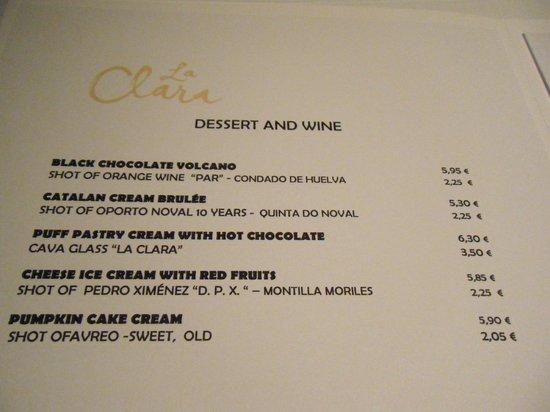 La Clara Restaurant : Dessert menu