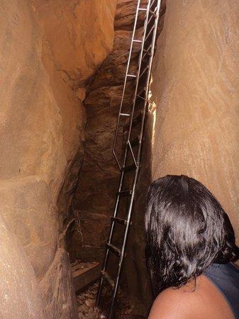 Baia do Sancho : Escada até o topo da fenda.