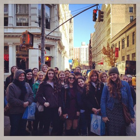 Shop Gotham NYC Shopping Tours: Speaking about cast iron in Soho on a Student Group tour