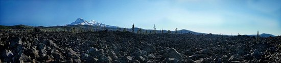 Dee Wright Observatory: Lava Fields and The North and Middle Sister of the Cascade Range viewed from Dee Wright Observat