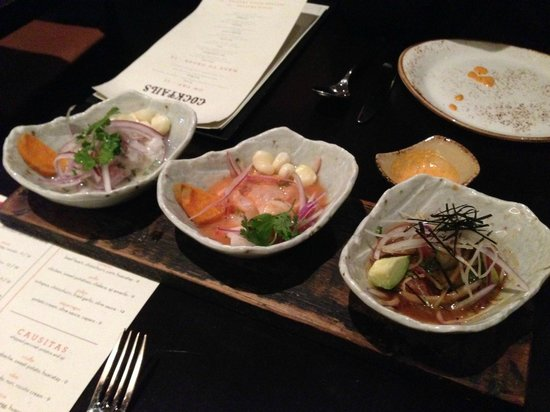 """Tanta: The Cebiche """"tasting"""" - three of the six offerings chosen by the chef. LtoR: classico, mixto, ni"""