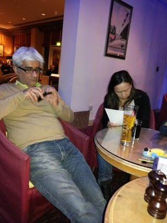 Grand Harbour Hotel: My son & daughter in the Bar