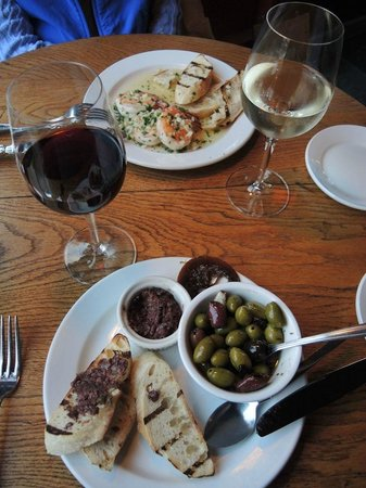 Alchemy Bistro and Wine Bar : Tapenade and Shrimp appetizers during Happy Hour.