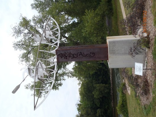 Big Rapids Riverwalk: Sculpture of canoers